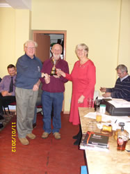 Frank and Helen Parker receiving the Clubman of the Year cup.