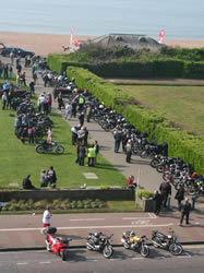 Bikes lined up on the seafront on the Sunday morning