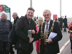 Geoff Booth being presented by his award by the Mayor of Brighton and Hove